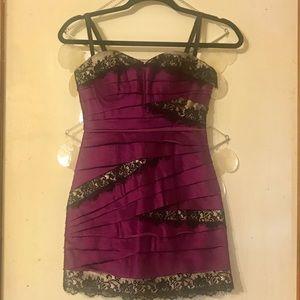 Bebe purple black lace mini dress